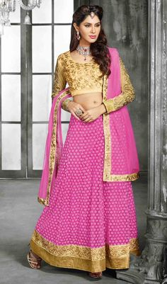 USD 51 Light Pink Net Embroidery Lehenga Choli 44433