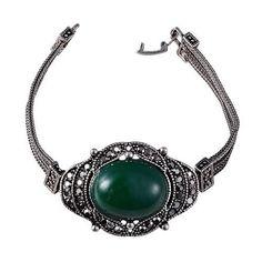 Turkish Jewelry Unique Tribal Ethnic Vintage Silver Bracelets Chains Link Black Resin Green Stone Charms Bracelet Men