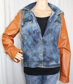 Ladies Blue Jean Jacket Brown PVC Vinyl Sleeves and Zippered Hood #Unbranded #JeanJacket