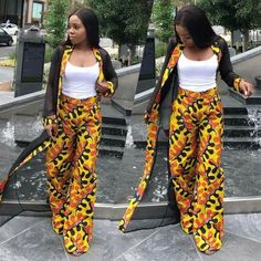 African Print Kimono Jacket with Wide Leg Pants – Ankara Print – African Dress – Two Piece – Handmade – Africa Clothing – African Fashion African Fashion Designers, African Print Fashion, Africa Fashion, African Fashion Dresses, African Attire, African Wear, African Dress, African Style, African Print Jumpsuit