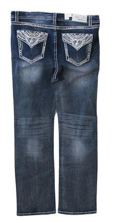 Grace in LA Plus Size Jeans Straight Leg with Faux Flap Pockets