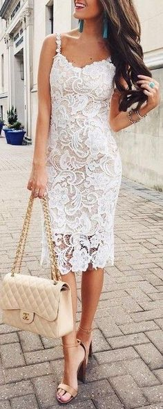 #summer #fashion / white crochet dress