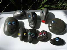 """Happy Rocks""     We had such fun making these ""Happy Rocks"" to give away at a folk music festival that we participate in. We left them for folks to find on benches, at the base of trees, on fence posts, etc. And some I took in a basket and offered to people who looked like they might enjoy a little gift. It was fun to pass on random acts of happiness! :)"