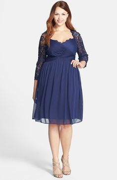 Adrianna Papell Lace Sleeve Mesh Fit & Flare
