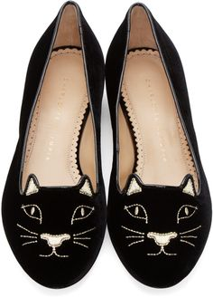 Charlotte Olympia Black Embroidered Velvet Kitty Flats