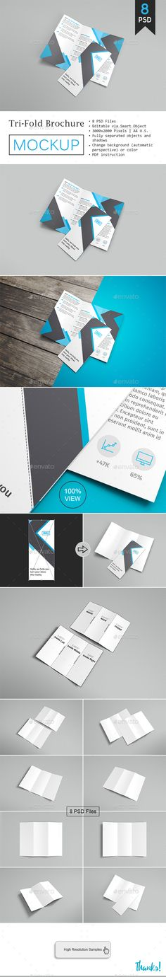Trifold Brochure Mockup Vol.2  #trifold #brochure #mockup #design #template #preview #businesscard #stationery #branding
