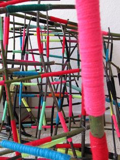 My next street art installation - I´m deeply into the creative process....more than 270 branches has to be covered with yarn....let´s see on the 11th of July I will install the whole thing.... :-)