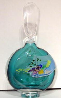 Teal Hand Blown Perfume Bottle by Glasshouse Studio