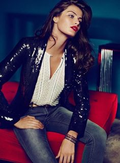 Lace detail blouse, dirty denim and a sequin blazer