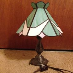 Stained Glass Lamp Shade w/Lamp by CustomStainedGlassNC on Etsy, $80.00 Leaded Glass, Mosaic Glass, Stained Glass Lamp Shades, Custom Stained Glass, Nightlights, Stained Glass Projects, Tiffany And Co, Lampshades, Table Lamp