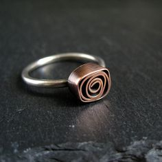 Copper Rose Ring, copper and silver ring, metalwork jewelry, antique copper and sterling silver ring Metal Clay Jewelry, Copper Jewelry, Modern Jewelry, Sterling Silver Jewelry, Copper Rings, Gold Jewellery, Jewellery Shops, Jewellery Storage, Mixed Metal Jewelry