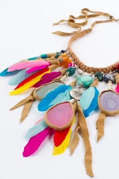 Rainbow Phoenix Necklace with Agate by Byron Bay studios