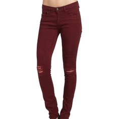 Pre-owned Rag & Bone Skinny Jeans ($100) ❤ liked on Polyvore featuring jeans, pants, bottoms, ripped jeans, red, ripped skinny jeans, red skinny jeans, stretch jeans and destructed skinny jeans