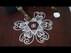 Rangoli Patterns, Rangoli Kolam Designs, Rangoli Designs With Dots, Rangoli With Dots, Simple Rangoli, Lotus Rangoli, Flower Rangoli, Rangoli Designs Latest, Bridal Blouse Designs