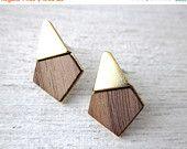 On Sale Yoko Earrings, wood veneer posts, geometric studs