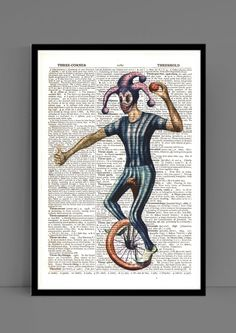 Clown in a purple hat riding a monocycle illustration, Great wall decoration  for office and home printed on a vintage pages by Visual2Studio on Etsy
