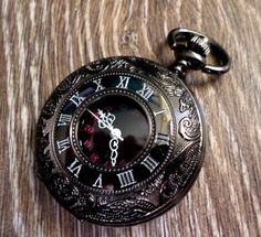 Pocket Watch Gunmetal Black Quartz with by PocketwatchEmporium