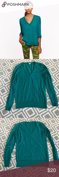 J. Crew Factory Teal Cotton V-Neck Sweater Gently used, in very good condition with no stains, holes or rips! Rib trim at neck, cuffs and hem. Machine wash. Great for layering! All of my items come from a clean, smoke-free home! Check my closet for more items and save when you bundle! Please let me know if you have any questions! J. Crew Factory Sweaters V-Necks