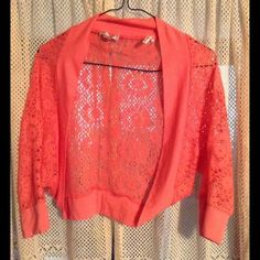 ❗️ON SALE❗️Shine New York orange shrug cover-up Orange lace shrug coverup. size small, brand Shine New York. #13 Sweaters Shrugs & Ponchos