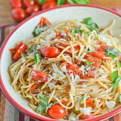 Spaghetti with Pancetta and Cherry Tomatoes - Salu Salo Recipes
