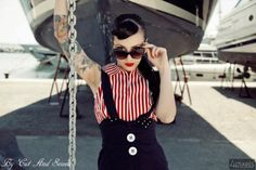 Striped blouse and Jumpsuit Skirt by Cut And Sewed