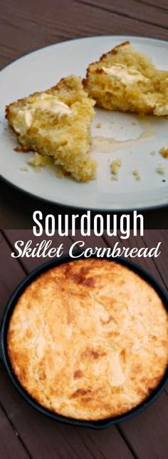 This skillet cornbread has great cornbread flavor with just a little sourdough pizzaz. It is nice and moist, without being too
