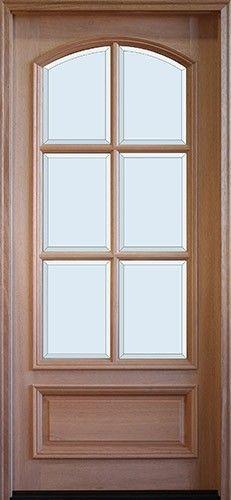"""8'0"""" Tall Preston 6-Lite Square Top Low-E Mahogany Arched Prehung Wood Door Unit"""