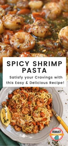 Spicy Shrimp Pasta, Spicy Shrimp Recipes, Shrimp Recipes For Dinner, Best Pasta Recipes, Easy Delicious Recipes, Spaghetti Recipes, Seafood Recipes, Mexican Food Recipes, Cooking Recipes