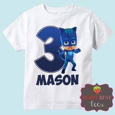 PJ Masks Cat Boy Personalized Birthday Shirt by BerryBestTees