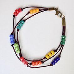 Rainbow Multicolored Beaded Leather Bracelet, Triple Strand Seedbead Braclet by EverydayWomenJewelry on Etsy https://www.etsy.com/listing/232162575/rainbow-multicolored-beaded-leather