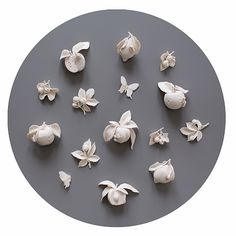 "Artist & Sculptor:  Kate Macdowell  ""Mutiny on the Bounty""  Size Variable  Wall-Mounted Collection Pictured Approximately  25"" x 25"" x 3½""  Handbuilt Porcelain  Cone 6 Glaze  2/2013"