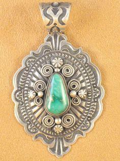 Navajo Sterling Silver Pendant Darrell Cadman Handmade Broken Arrow Variscite | eBay