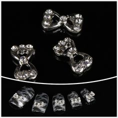 So Beauty Silver Bowknot with Rhinestone 3D Alloy Nail Art 100pcs * Check out this great product.
