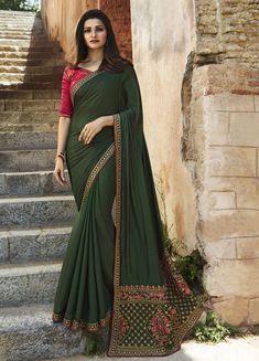 Buy Bollywood Prachi Desai Green and Pink silk designer party wear saree in UK, USA and Canada Bollywood Designer Sarees, Indian Designer Sarees, Indian Sarees Online, Latest Designer Sarees, Silk Sarees Online, Bollywood Saree, Bollywood Fashion, Saree Fashion, Prachi Desai