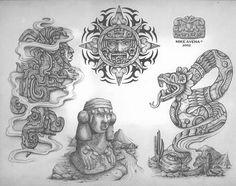 Have a look at the Gangster Tattoo Picture Gallery. Lots of Gangster Tattoo Designs to view and get some tattoo ideas. Mayan Tattoos, Evil Tattoos, Gangster Tattoos, Native Tattoos, Chicano Tattoos, Body Art Tattoos, Aztec Tattoo Designs, Skull Tattoo Design, Tatto Maya