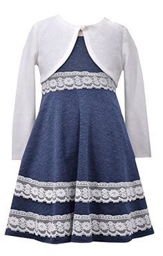 3141b07757b Big Girls Plus Blue White Lace Border Ponte Knit Fit Flare Dress Jacket Set  Beautiful tween girl plus-size blue white dress and jacket special occasion