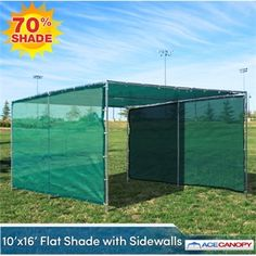 10' x 16' Flat Shade Canopy with Sidewalls The 10x16 Flat Shade Canopy with Sidewalls features a flat roof, mesh top, and two (2) mesh sidewalls of the same color. Our Flat Shade Canopies are perfect for just about any occasion! They're easy to set up, require no tools, and their low-profile look means they can be used and still be functional almost anywhere! The two mesh sidewalls provide even more shade as well as some privacy.
