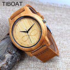 TIBOAT Fashion Luxury Men's Women's Bamboo Wood Watch Quartz Genuine Leather Wristwatches de madera reloj de pulsera //Price: $27.24 & FREE Shipping // #hashtag4