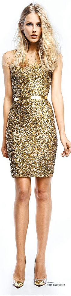 Spring / Summer - Party Style - Dressy Style - Golden fitted mini dress - Reem Acra Resort 2015
