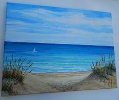 Beach painting beach decor Seascape painting by Seascape Paintings, Mural Painting, Easy Paintings, Landscape Paintings, Beach Mural, Beach Wall Art, Beach Scene Painting, Acrylic Painting Lessons, Beach Scenes