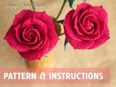 Ganchillo rosa patrón y las instrucciones - Crochet patrón de ganchillo de patrón - rosa para el ramo y la decoración - flor - rosa abierta
