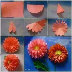 DIY Pictorial Origami Flowers flowers diy craft handmade step by step tutorial projects origami Paper Flowers Craft, Crepe Paper Flowers, Flower Crafts, Diy Flowers, Fabric Flowers, Flower Paper, Dahlia Flowers, Tissue Flowers, Dahlias