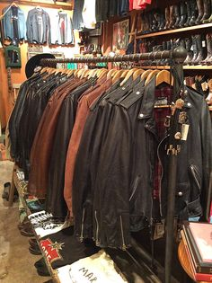 Schott leather motorcycle jackets for him or her in classic black or brown.