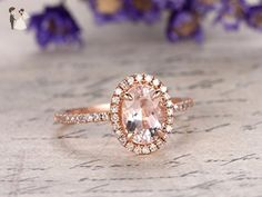 Morganite Engagement Ring Oval Cut 6x8mm VVS Gemstone SI I-J Diamond 14k Rose Gold,Claw Prong Set Ring,Bridal Ring,Promise Ring - Wedding favors (*Amazon Partner-Link)