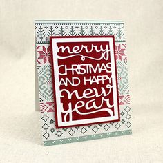 Fair Isle Text Block Card by Lizzie Jones for Papertrey Ink (October 2015)