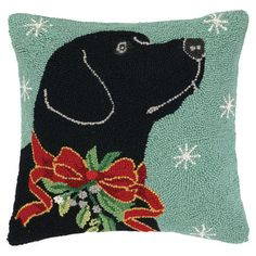 Christmas Black Lab Hooked Pillow by Suzanne Nicoll from Peking Handicraft Inc Wool Pillows, Throw Pillows, Cushions, Black Labrador Retriever, Comfort And Joy, Christmas Fun, Xmas, Christmas Bedroom, Christmas Pillow