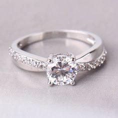 831d979cc 18k white gold filled engagement swarovski crystal royal promise Ring  Sz5-Sz9 #Engagement Engagement