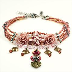 Choker necklace  - roses and hearts - vintage rose and dark pink - silver and brass metal - gypsy style handmade OOAK jewelry