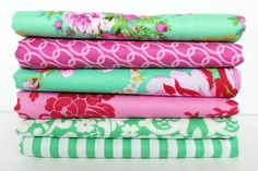 Beauty Queen, Half Yard Bundle, Jennifer Paganelli. 6 Half Yard Cuts in Green and Pink on Etsy, $27.75