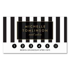 Black and White Stripes Salon Loyalty Card Double-Sided Standard Business Cards (Pack Of 100). This great business card design is available for customization. All text style, colors, sizes can be modified to fit your needs. Just click the image to learn more!
